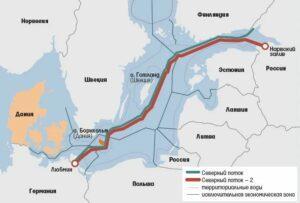 Фото схемы карты маршрутов обоих северных потоков по поставке газа из России в Европу через Германию.