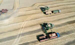 На фото комбайны собирают урожай С/Х культур с пахотных земель.